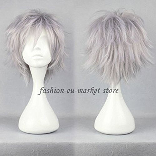 Christmas Unisex Wigs Short Synthetic Cosplay Wig Anime Hair Tail Full Wigs Heat Resistant Synthetic Wig Wigs Japanese Kanekalon Fiber 20 Colors Full Wigs With Free Wig Cap (silvery gray) - Fai Tsubasa Cosplay Costume