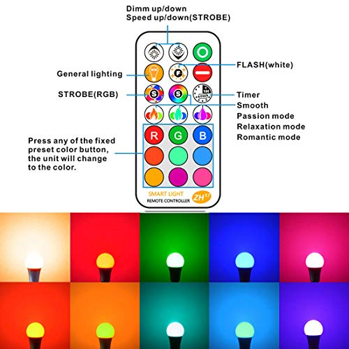 LED Light Bulb 85W Equivalent, Color Changing Light Bulbs with Remote Control RGB 6 Modes, Timing, Sync, Dimmable E26 Screw Base (2 Pack)