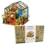 Imagine 3D DIY House Model Kit Greenhouse with LED Light Kit - Miniature Dollhouse Build It Yourself Kit for Hobbyists and Enthusiasts