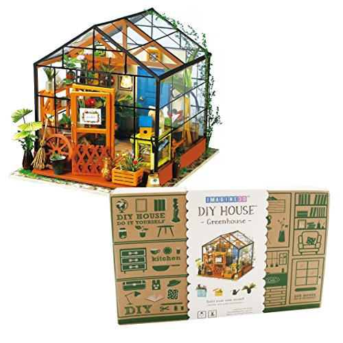 Imagine 3D DIY House Model Kit Greenhouse with LED Light Kit - Miniature Dollhouse Build It Yourself Kit for Hobbyists and Enthusiasts ()