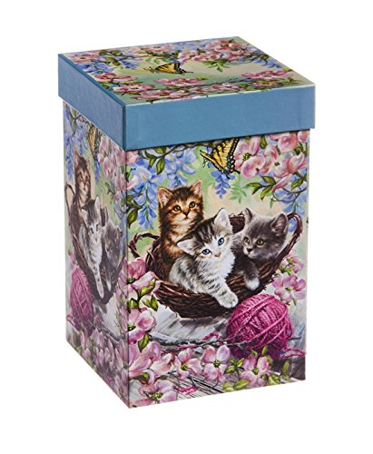 """Cypress Home Kittens in the Flowers 17 oz Boxed Ceramic Perfect Travel Coffee Mug or Tea Cup with Lid - 3""""W x 5.25'' D x 7'' H"""
