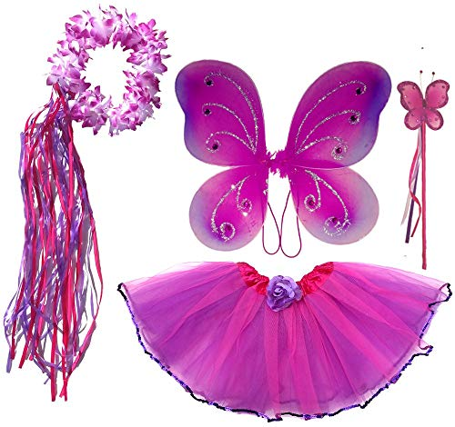Girls Fairy Costume with Wings, Tutu, Wand & Halo Fits Age 2-7 (hot Pink and Purple)]()