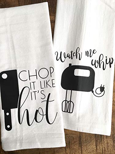 Funny Kitchen Towel Set Chop it like it's Hot Watch me Whip Set of 2 (Like Towels)