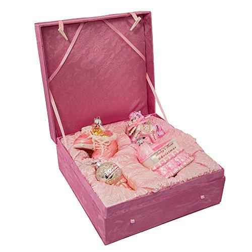 Kurt Adler NB0017G Noble Gems Glass Baby Girl Ornament, 4 Piece Set
