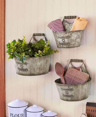 Phantomx Country Living Set of 3 Wall Buckets Rustic Primitive Kitchen Bathroom Storage (Nz Furniture Garden Rustic)