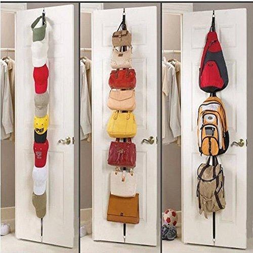 Adjustable Over Door Straps Hanger Hat Bag Clothes Rack Holder Organizer 8 Hooks/Rack Home Storage Organization