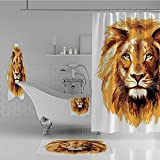 Bathroom 4 Piece Set Shower Curtain Floor mat Bath Towel 3D Print,Lion King Biggest Cat in Africa Icon Animal,Fashion Personality Customization adds Color to Your Bathroom.