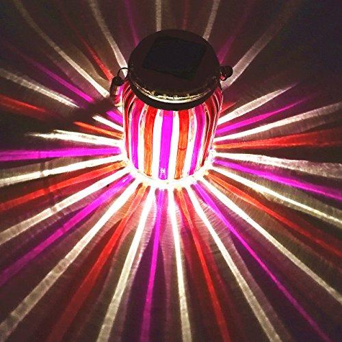 Solar Lantern Jar Lights Outdoor Table Light Glass Ball Lamp Mason Jars Red Decorations Hanging Tree Lights Bright High 20 Lumens LED Garden Decor Tabletop Lanterns for Gift Party Yard