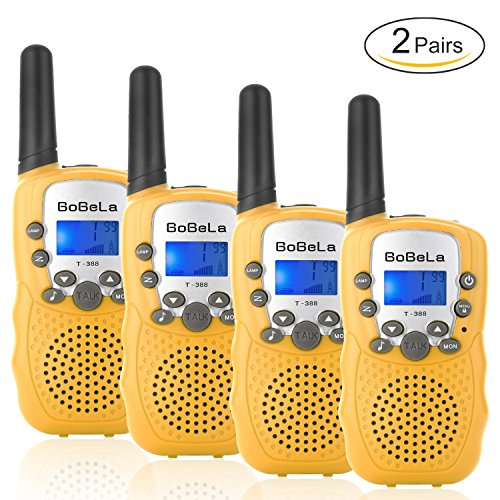 Bobela T388 Best Durable Walkie Talkies as Halloween Gifts for Children Seniors / Mini Radio Toys for Kids Adventure / 3-5Km Waki Taki with Flashlight for Outdoor Party Riding ( Yellow 2 Pairs ) (Travel Channel Halloween 2017)