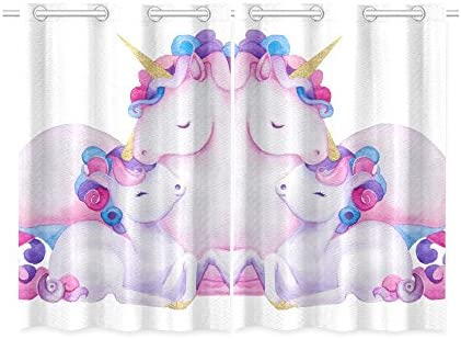 INTERESTPRINT Blackout Window Curtains Cute Unicorns Room Bedroom Home Short Drapes Curtains 52X39 Inch