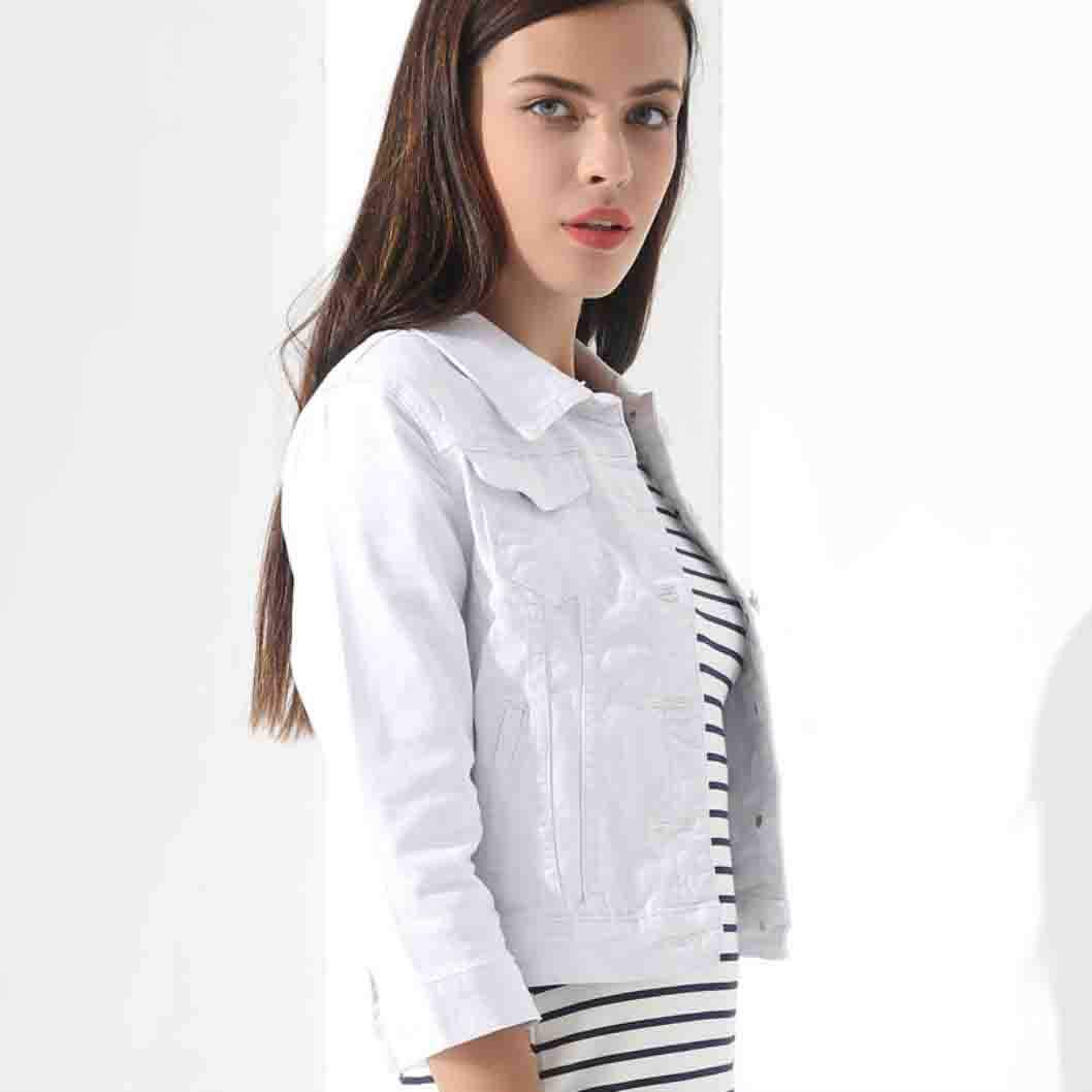 MYNOV 2019 New Women White Spring Denim Coats and Jackets Jean Slim Short Coat Jacket