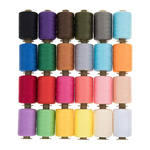 KEIMIX Polyester Sewing Threads 24 Colors 1000 Yards Each Spools Sewing kit for Hand & Machine Sewing]()