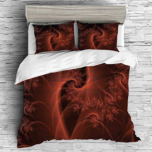 SCOCICI King Size Duvet Cover Set/Burnt Orange,Digital Fractal Image with Swirling Turning Moving Floral Lines Modern Graphic,Orange / 3 Piece Bedding Set ()