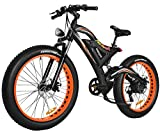 Addmotor MOTAN Electric Mountain Snow Beach Bikes Fat Tire 750W 48V 11.6AH Battery Electric Bicycle Full Suspension 2018 M-850 P7 E-bike (Orange)+Fenders As Gift