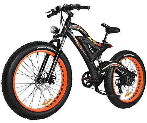 Addmotor MOTAN Electric Mountain Snow Beach Bikes Fat Tire 750W 48V 11.6AH Battery Electric Bicycle Full Suspension 2018 M-850 P7 E-bike (Orange)+Fenders As Gift - Electric Suspension