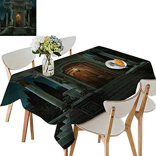 UHOO2018 Square/Rectangle Polyester Cloth Fabric Cover Roman Pavilion Lantern Ivy on Pillars Under Dome Medieval Architecture Mystic Theme Table Top Cover,54 x102inch