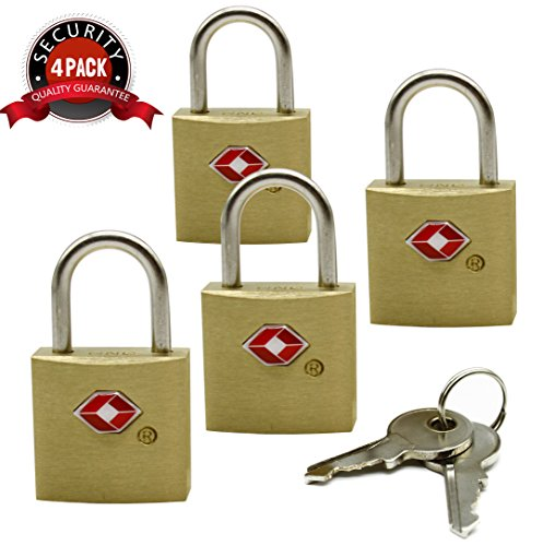 Gold Padlock (Smartrip Gold Brass Keyed Padlock 2-Packs of 2-Sets)