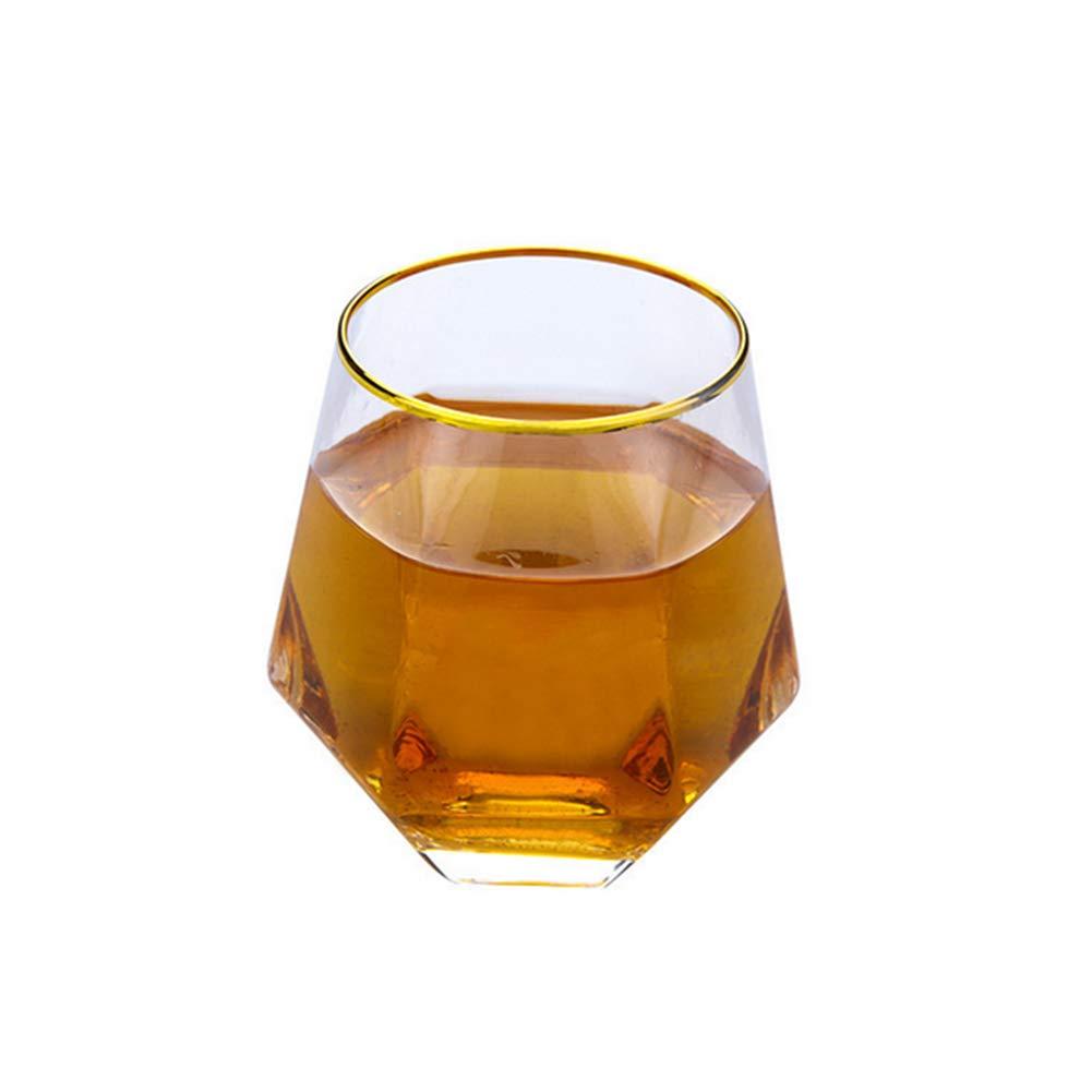Romote Copa de Vino sin Tallo Vasos de Whisky de Vino Vidrios ponderado vidrios de consumició n de có ctel (Borde del Estilo de Oro)