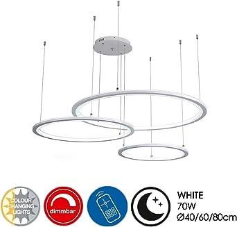 Modern LED Pendelleuchte 3 Ring Rund Hängeleuchte Braun