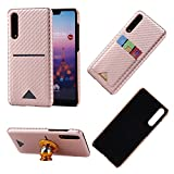 Huawei P20 Pro Case Hard Cover Carbon Fiber Rose Gold,Huawei P20 Pro Wallet Case,Gostyle Huawei P20 Pro Slim Back Protective Shell with Credit Card Holder,Perfect Work with Magnetic Car Mount Stand