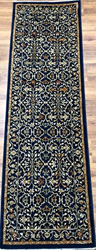 Rectangle Navy Rug (Antep Rugs ORIENTAL Collection ROYAL Floral Oriental Runner Rug ROYAL-NAVY/IVORY 2'3