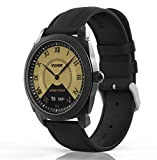 InClock Watch Stainless Steel with Leather Strap - (OLED Auto Calibration - Heart Rate - Pedometer - Sleep and Blood Pressure Monitor - Fitness Tracker) Bluetooth Smartwatch (Black)