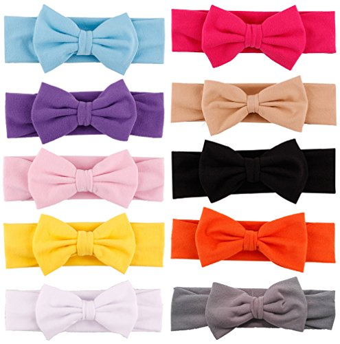 Qandsweet Baby Girl's Headbands and Bows (10 Pack) - 14 Inch Bows