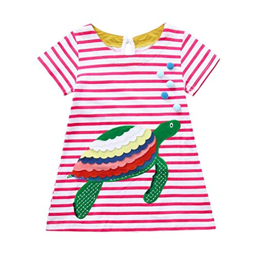 Baby Toddler Outdoor Playsuit Sets, Toddler Baby Girls Cartoon Striped Turtle Dog Dress Short Sleeve Clothes Pink 24M ()