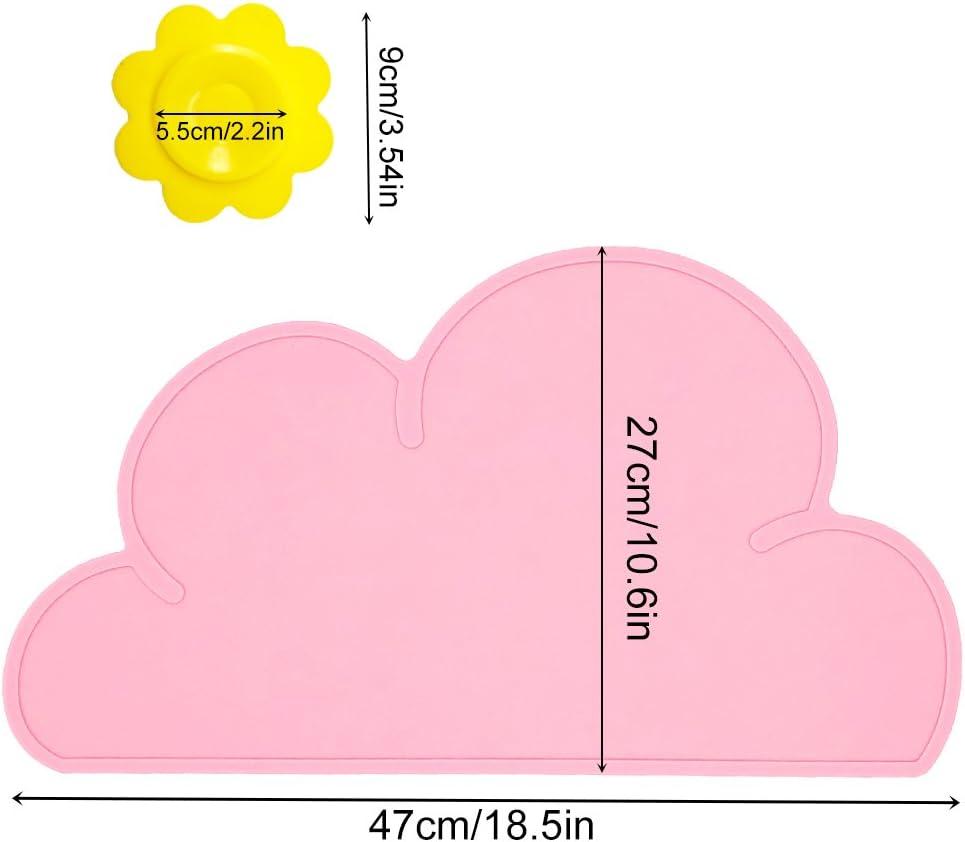 Negro BITEYI Salvamantel,Silicona Mantel Mat Mantel Individual Estera de Tabla para Beb/é y Ni/ño,Forma de Nube,Lavable,Antideslizante