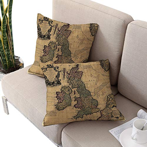 Alexandear Wanderlust Decor Collection Square Pillowcase Protector,British Islands Scotland England European History Books Britain Grunge Artwork Beige Olive Ivory W14 xL14 2pcs