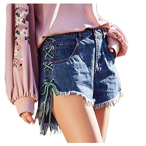 OcAuWerE Womens Casual Lace-up Tassel High Waist Denim Short Jeans by OcAuWerE (Image #8)