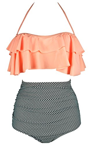 COCOSHIP Orange Pink & Black Striped Retro Boho Flounce Falbala High Waist Bikini Set Chic Swimsuit Bathing Suit L(FBA)