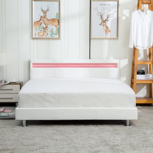 UHOM Modern Home Bedroom Bed Frame Contemporary Wood Steel PU-Leather Bed Multi-Color LED Light Headboard Full White