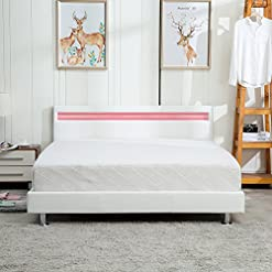 Bedroom Modern Home Bedroom Bed Frame Contemporary Wood Steel PU-Leather Bed Multi-Color LED Light Headboard Full White modern beds and bed frames