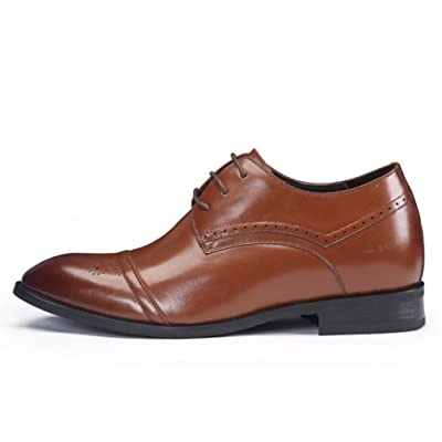 2.76 Inches Taller Elevator Shoes Genuine Leather Derby Dress Shoes for Men