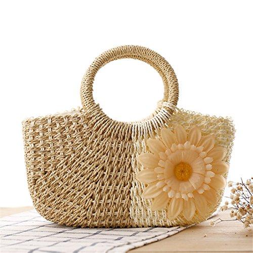 Dunland Pochette borsa a mano donna ragazze Piccolo fiore di Sun borsa paglia Naturale Borsa da Beige