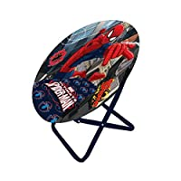 (Spider Man) - Disney Moon Chair Spider-Man, Folding Round Soft Padded Chair for Toddlers, Kids