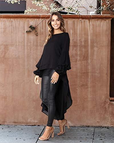 PRETTYGARDEN Women's Lantern Long Sleeve Round Neck High Low Asymmetrical Irregular Hem Casual Tops Blouse Shirt Dress 4