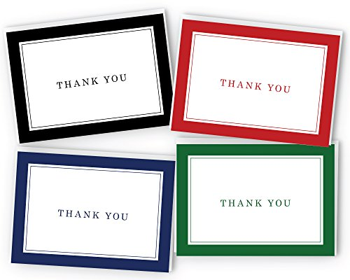Border Card (Classic Thick Border Thank You Cards - 48 Cards & Envelopes)
