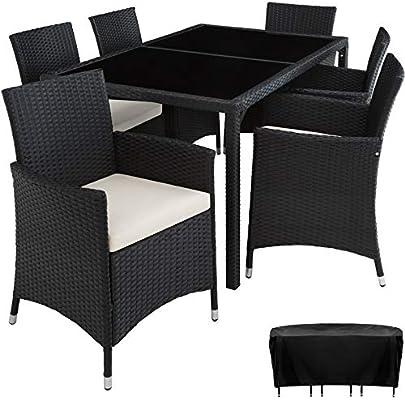 TecTake Conjunto Muebles De Jardín En Ratán Sintético 6+1 | Tornillos De Acero Inoxidable | Funda completa - disponible en diferentes colores - (Negro | no. 402058): Amazon.es: Jardín