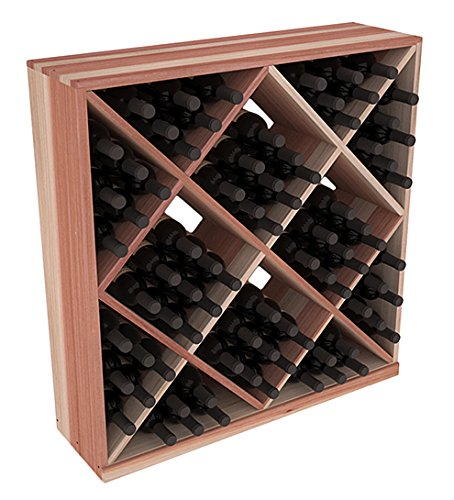 Bin Wine Rack Diamond Solid (Wine Racks America Redwood 82 Bottle Solid Diamond Cube. 13 Stains to Choose From!)