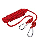 Outdoor Rock Climbing Safety Rope 10M(32ft)/15M(49ft)/20M(64ft)/30M(98ft) with Hooks,Diameter 8mm(0.03ft),9KN(900kg),for Outdoor Escape Rope, Camping Hiking Rope, Fire Rescue Parachute (Red, 10m)