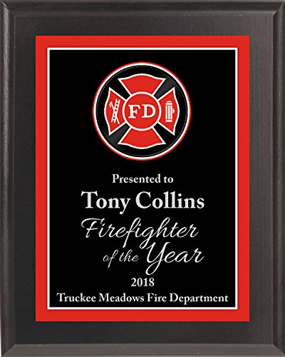 Engraved Fire Department Award Plaque, Free Engraving (Solid Black)