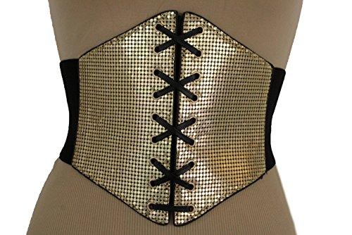 TFJ Women Fashion Elastic Corset Belt Extra Wide High Waist Gold Mesh Metal Sexy S M (Corset Waist High Belt)