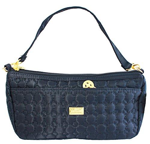Bijoux De Ja Quilted Fabric Cross Body Shoulder Handbag Clutch Purse (Navy (Bijoux Clutch)