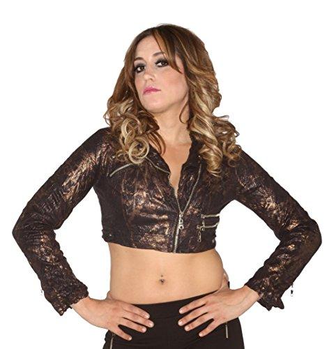 Sexy Cropped Jacket Black Bronze Snakeskin Womens Sizes: Small ()