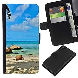 LECELL--Cuero de la tarjeta la carpeta del tirón Smartphone Slots Protección Holder For Sony Xperia Z3 D6603 -- Paradise Island Beach --