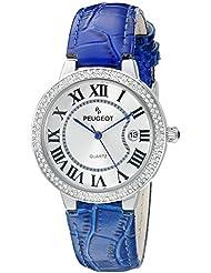 Peugeot Womens 3043SBL Silver Crystal Bezel Blue Leather Strap Analog Display Quartz Blue Watch
