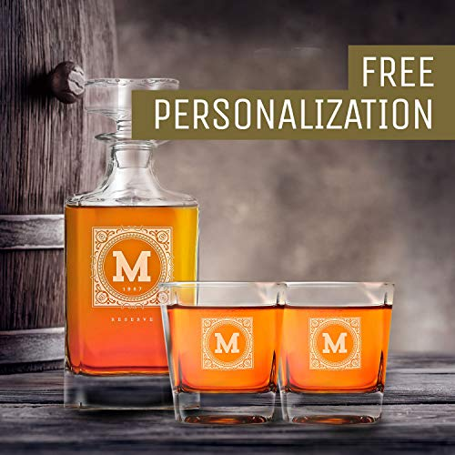 Personalized Whisky Decanter & Whiskey Glass Combo Lead Free : The Heirloom by Swanky Badger (Image #3)