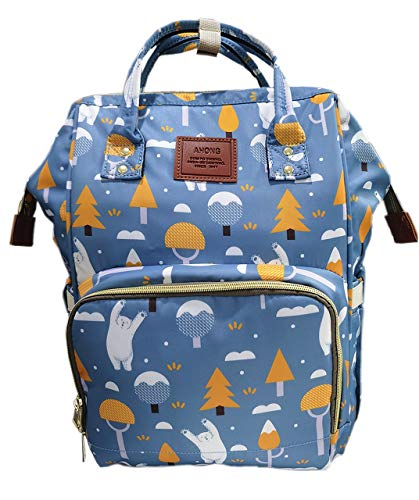 Multifunction Blue Baby Bear Diaper Bag Backpack, Baby Bags, Large Waterproof Cartoon Travel Maternity Nappy Bags for Mom Dad Boys Girls,Stylish and Durable Diaper Bag Organizer